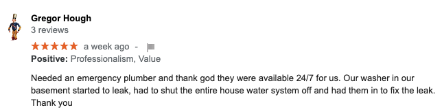 Google Review for North Bay Plumbers